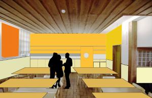 Der Speiseraum. Hier sind eine Theke und neue Essensausgabe geplant (Quelle: Bau-Kunst-Kesseler GmbH)
